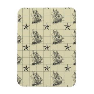 Vintage Nautical Pattern, Retro Ship, Dirty Green Rectangular Photo Magnet