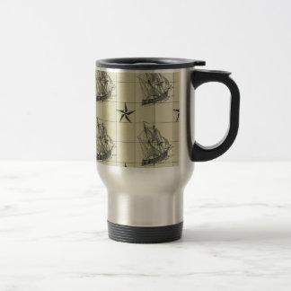 Vintage Nautical Pattern, Retro Ship, Dirty Green Travel Mug