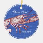 Vintage Nautical Red Lobster Custom Beach House Ceramic Ornament