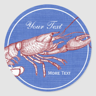 Vintage Nautical Red Lobster Custom Beach House Classic Round Sticker