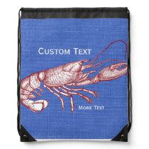 Vintage Nautical Red Lobster Custom Beach House Drawstring Bag