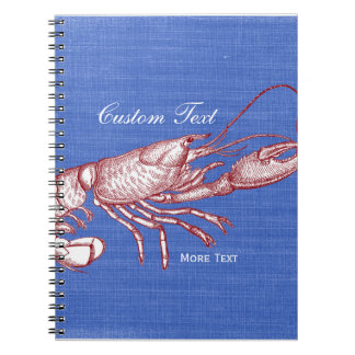 Vintage Nautical Red Lobster Custom Beach House Notebook