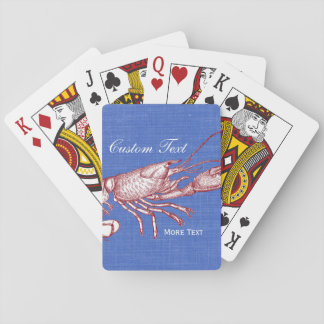 Vintage Nautical Red Lobster Custom Beach House Playing Cards