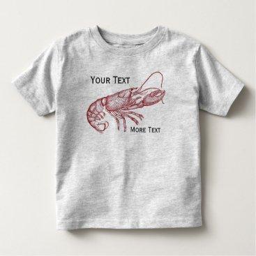 Beach Themed Vintage Nautical Red Lobster Custom Beach House Toddler T-shirt