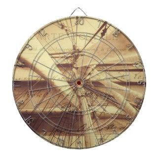 Vintage Nautical Sailing Typography In Sepia Dartboard