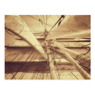 Vintage Nautical Sailing Typography in Sepia Postcard