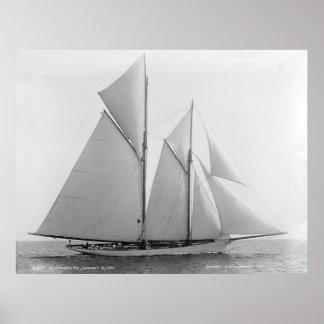 Vintage Nautical Schooner Marguerite Print