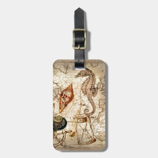 Vintage nautical seahorse anchor beach bag tags