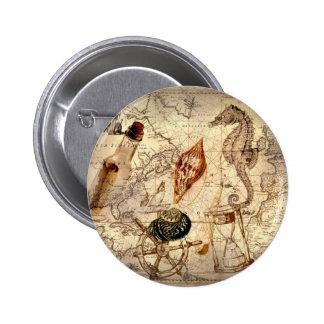 Vintage nautical seashells seahorse beach pin