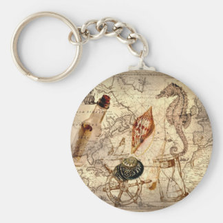 Vintage nautical seashells seahorse beach keychains
