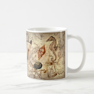 Vintage nautical seashells seahorse beach mug