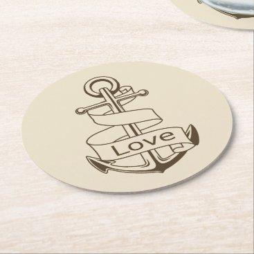 Beach Themed Vintage Nautical Ship Anchor Tan Love Wedding Round Paper Coaster