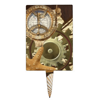 Vintage Nautical Steampunk Gears Cake Topper