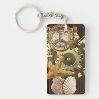 Vintage Nautical Steampunk Gears Keychain