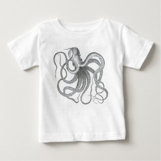 Vintage nautical steampunk octopus print baby T-Shirt