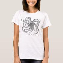 Vintage nautical steampunk octopus print T-Shirt