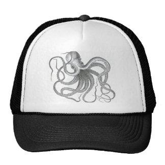 Vintage nautical steampunk octopus summer print trucker hat