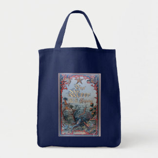 Vintage nautical steampunk victorian book cover grocery tote bag