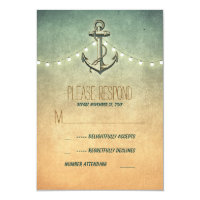 vintage nautical wedding RSVP card