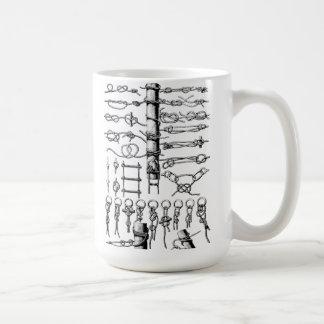 Vintage náutico de la carta de los nudos tazas de café