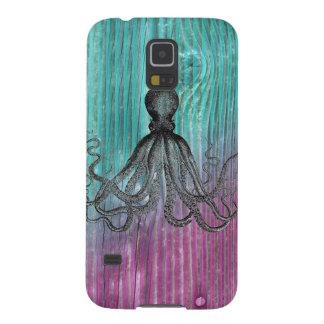 Vintage náutico de madera Kraken del pulpo de Funda Galaxy S5