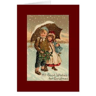 Vintage, navidad tarjeta