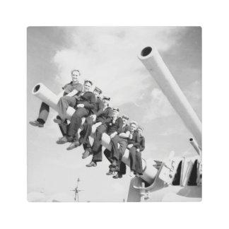 Vintage Navy American sailors in World War II Metal Photo Print