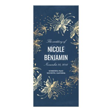Beach Themed Vintage Navy and Gold Floral Wedding Programs