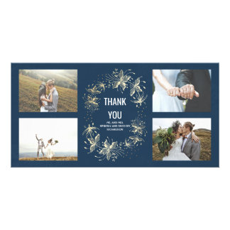 Vintage Navy and Gold Floral Wedding Thank You Card