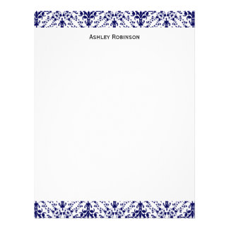 Vintage Navy and White Damask #2 Personalized Letterhead