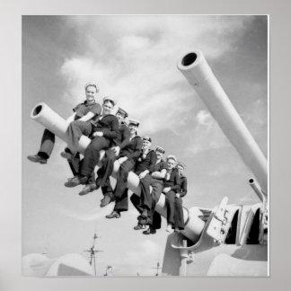 Vintage Navy battleship sailors on gun Poster