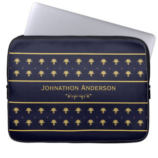 Vintage Navy Blue And Gold Book With Name Laptop Computer Sleeves