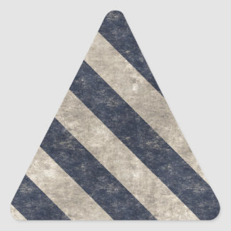 Vintage Navy Blue and White Stripe Pattern Triangle Sticker