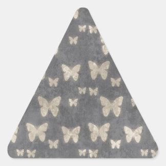 Vintage Navy Blue Butterfly Pattern Triangle Sticker