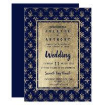 Vintage navy blue faux gold floral damask Wedding Invitation