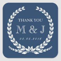 Vintage Navy Blue Laurel Wreath Wedding Sticker