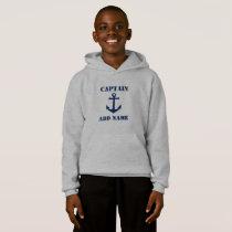 Vintage Navy Blue Nautical Anchor & Name/Rank Hoodie