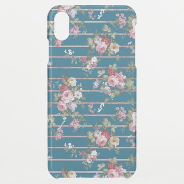 Vintage navy blue pink floral rose gold stripes iPhone XS max case