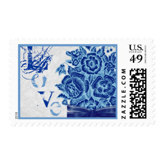 Vintage Navy Blue Silver Rose Bouquet Lace Love Stamp