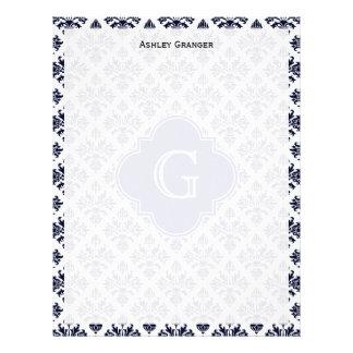 Vintage Navy Blue White Damask #3 Monogram Letterhead