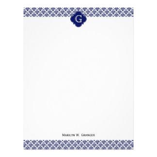 Vintage Navy Blue White Damask #3 Navy Monogram Letterhead