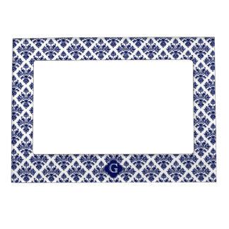 Vintage Navy Blue White Damask #3 Navy Monogram Magnetic Frame