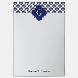Vintage Navy Blue White Damask #3 Navy Monogram Post-it Notes