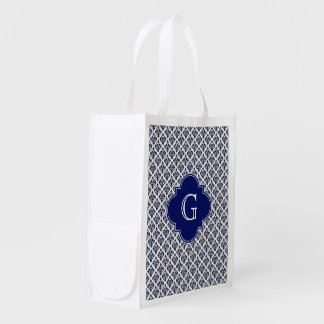 Vintage Navy Blue White Damask #3 Navy Monogram Reusable Grocery Bag