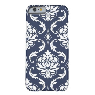 Vintage Navy Blue White Damask Pattern Barely There iPhone 6 Case