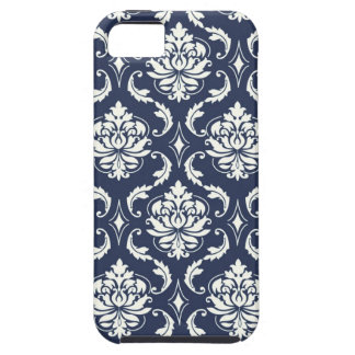 Vintage Navy Blue White Damask Pattern iPhone 5 Cases