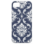 Vintage Navy Blue White Damask Pattern iPhone 5 Cover