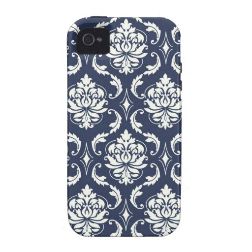 Vintage Navy Blue White Damask Pattern Case-Mate iPhone 4 Covers