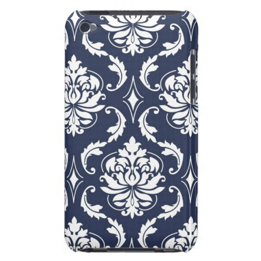 Vintage Navy Blue White Damask Pattern iPod Touch Cases