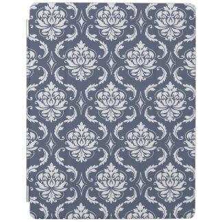 Vintage Navy Blue White Damask Pattern iPad Cover